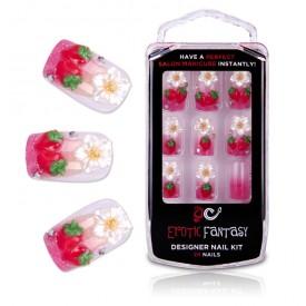 Акриловые типсы для маникюра с клубничками Californian Strawberry